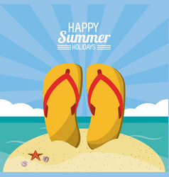 happy summer holidays poster flip flops beach vector image