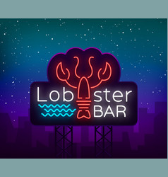 lobster neon logo icon emblem vector image