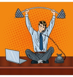 Successful Businessman with Barbell Pop Art vector image vector image