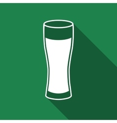 Glass of beer flat icon with long shadow vector image vector image