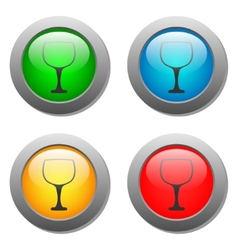 Goblet icon glass button set vector image vector image