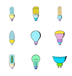 illumination icons set cartoon style vector image