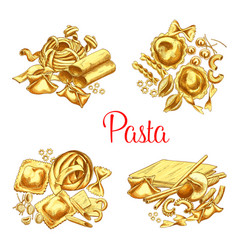 italian pasta icons set for restaurant vector image vector image