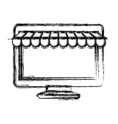 monochrome blurred silhouette of desktop computer vector image vector image