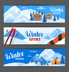 Winter ski resort banners beautiful landscape vector