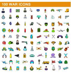100 war icons set cartoon style vector image