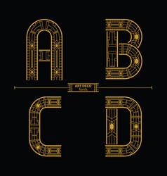 alphabet art deco style in a set abcd vector image
