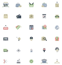 Flat shopping icon set vector image vector image