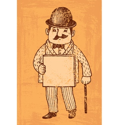 Gentlemen with blank board vector image