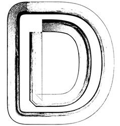 Grunge Font letter D vector image