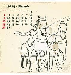 March 2014 hand drawn horse calendar vector image