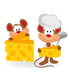 mouse cook with cheese vector image