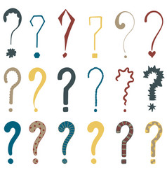 set of 18 question marks for design vector image vector image
