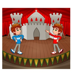 Twins are acting on the stage vector