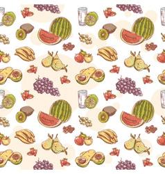 Fresh fruit hand drawn seamless pattern vector image vector image