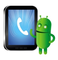 Funny green robot with mobile phone vector image