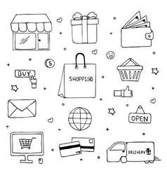 hand drawn of shopping doodle art design vector image