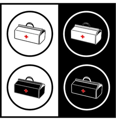 medical suitcase icons vector image