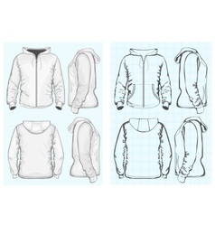 Mens hooded sweatshirt with zipper vector image vector image