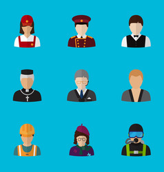 set of 9 editable profession flat icons includes vector image vector image