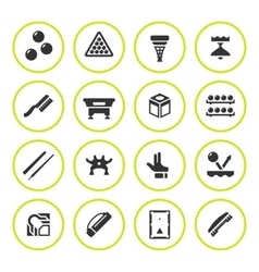 Set round icons of billiards snooker and pool vector image vector image