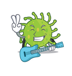 with guitar green bacteria mascot cartoon vector image