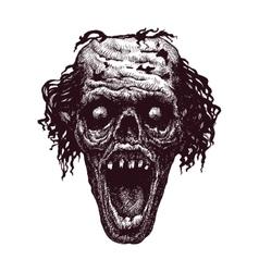zombie head hand drawn eps8 vector image vector image