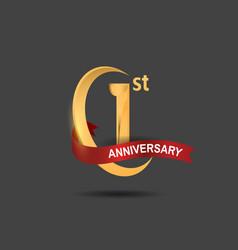1 anniversary design logotype golden color vector