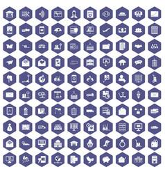 100 postal service icons hexagon purple vector