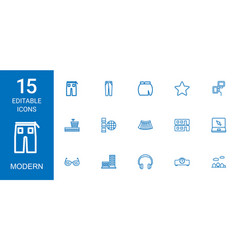 15 modern icons vector