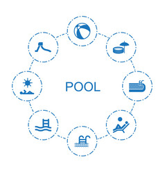 8 pool icons vector