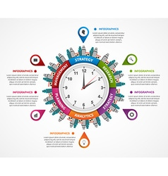 Abstract infographic in the clock in the centre vector