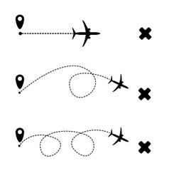airplane dash line flight route vector image