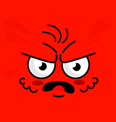 Angry emoticon red square face expression vector