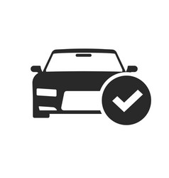 automobile with check mark icon black and vector image