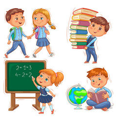 Back to school cute kids set vector