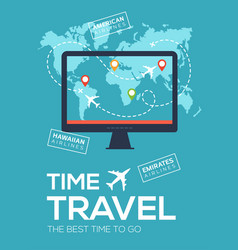 Banner poster of travel company time to travel vector
