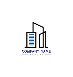 black and blue real building logo on white vector image