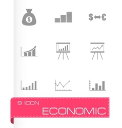 Black economic icon set vector