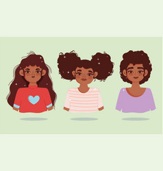 black women with curly hair different style vector image