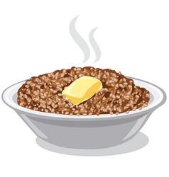 Boiled buckwheat porridge vector