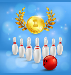 Bowling victory 3d composition vector