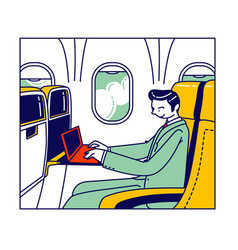 businessman sitting in airplane comfortable seat vector image