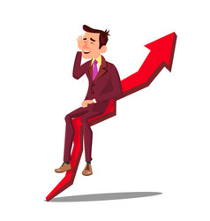 businessman sitting on arrow graph of sales vector image