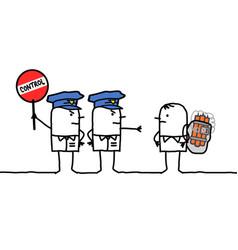 Cartoon characters - police control - bomb vector