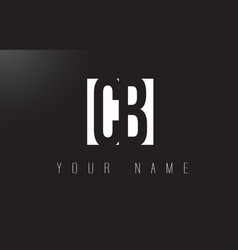 cb letter logo with black and white negative vector image