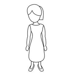 Character mother female outline vector