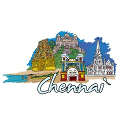 chennai doodles vector image