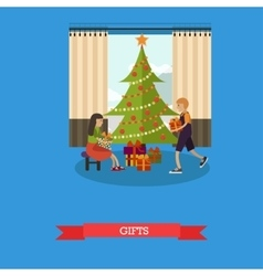 Children with christmas vector