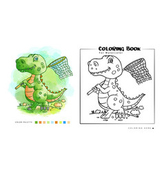 Coloring book cute dinosaurs playing on the vector